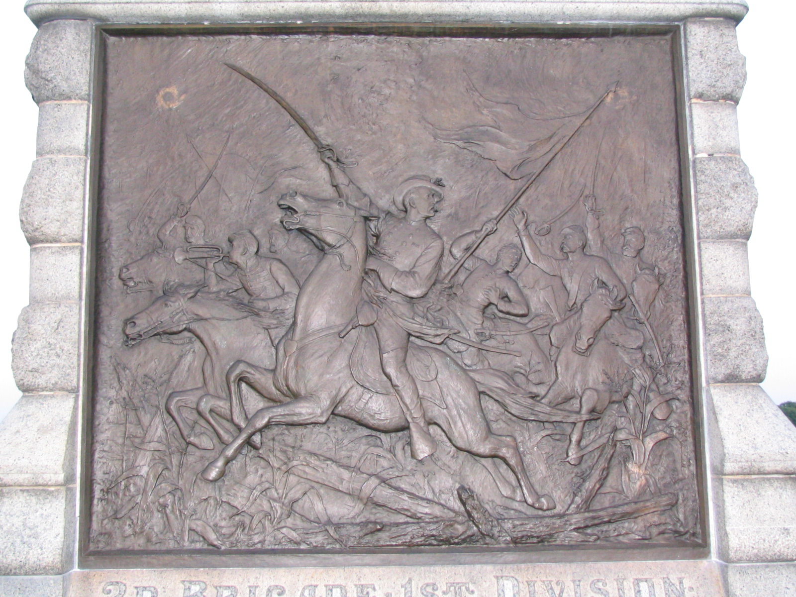 bas relief front of 6th New York Cavalry Monument